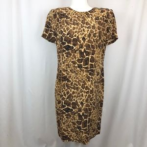 Maggy London 100% silk sheath dress giraffe print